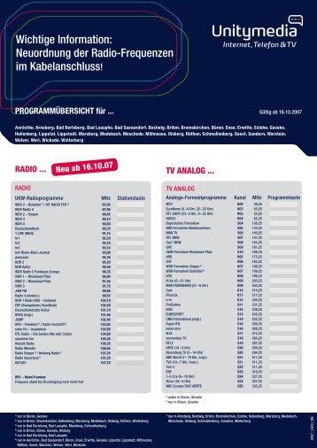 Wichtige Information: Neuordnung der Radio-Frequenzen ... - DefJay