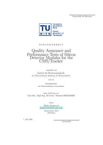 Quality Assurance and Performance Tests of Silicon ... - HEPHY