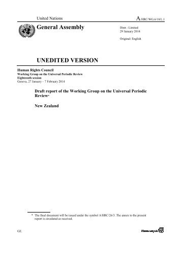 Draft report of the Working Group on the Universal Periodic Review.1