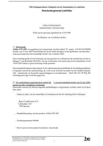 Directoraat-generaal Leefmilieu - FAVV