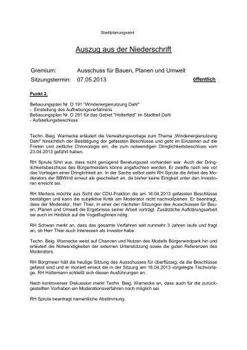 Protokollauszug Ausschuss für Bauen, Planen und Umwelt 07.05 ...