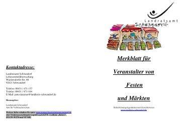 Merkblatt für Veranstalter von Festen  und Märkten -  Stadt Schwandorf