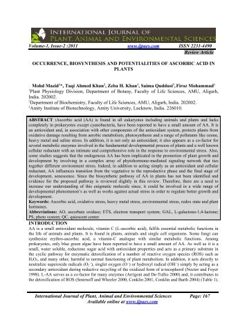 occurrence, biosynthesis and potentialities of ascorbic ... - Ijpaes.com
