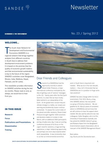 Newsletter No. 23, Spring 2012 - South Asian Network for ...