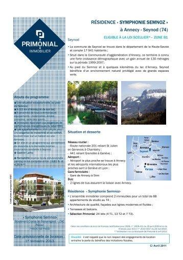 RÉSIDENCE « SYMPHONIE SEMNOZ - Primonial Immobilier