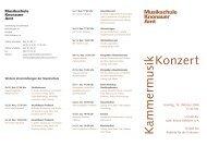 Konzert Kammermusik - Musikschule Knonaueramt