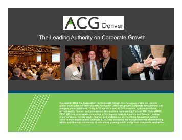The Leading Authority on Corporate Growth - Association for ...