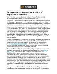 Reuters.com - September 2012 - Timbers Resorts