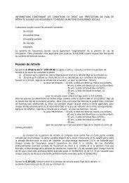 Informations concernant les conditions du droit aux prestations du ...