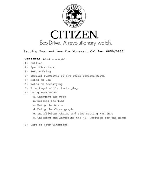 Citizen eco-drive setting instructions and printable manuals | ebay.