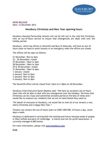 Christmas & New Year Opening Hours - Havebury Housing ...