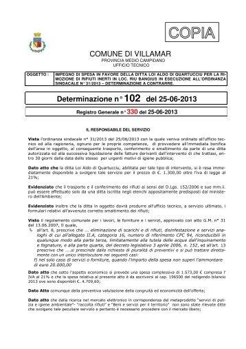 Scarica la Determina Ufficio Tecnico n. 102/2013 (Pdf 139 Kb)