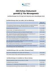 Jährliches Dokument 2010 - HTI - High Tech Industries AG