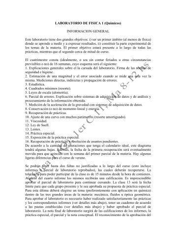 LABORATORIO DE FISICA 1 (Químicos) INFORMACION GENERAL ...