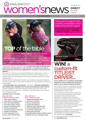England Golf women's enews issue 52, Dec 2012