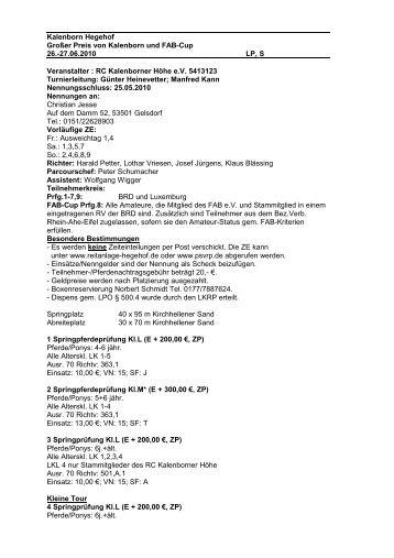 Ausschreibung Turnier 26.06. - 27.06.2010 - Reitanlage-hegehof.de