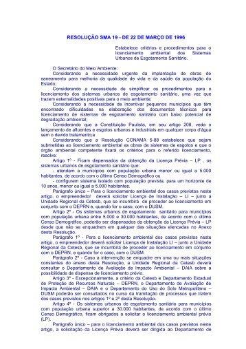 Resolução SMA 19/96 - cetesb
