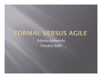 Agile vs. Formal - Oklahoma State University Computer Science