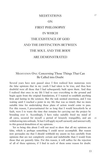 meditations on first philosophy in which the existence of god and the ...