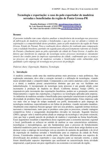 o caso do polo exportador de madeiras serradas e ... - UTFPR