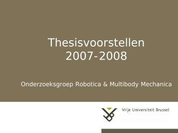Introductie Robotica & Multibody Mechanica Onderzoeksgroep