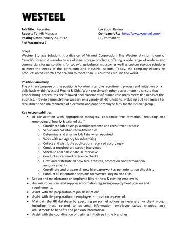 personnel manager job description