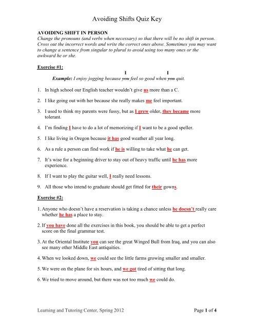 Avoiding Shifts Quiz Key - GPC Home