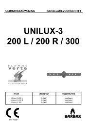 Gebruiksaanwijzing Barbas Unilux 3-200 / 300 - UwKachel