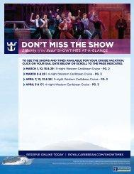 DON'T MISS THE SHOW. - Royal Caribbean International