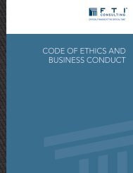 Code of Ethics and Business Conduct - FTI Consulting