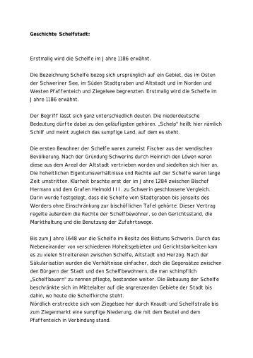 Geschichte Schelfstadt - Schwerin - schweriner-online.de