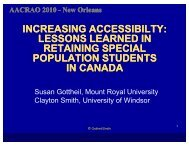 Lessons Learned in Retaining Special Population ... - AACRAO