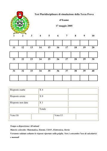 Primo test di simulazione Terza prova anno scolastico 2004-2005