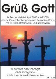 Gemeindebrief April - Juli 2010 - Evang. Kirchengemeinden ...