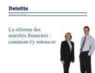 Étapes d'une réforme des marchés financiers - Deloitte & Touche ...