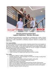 Planning and Procurement Intern Logistics ... - Bosch-Career