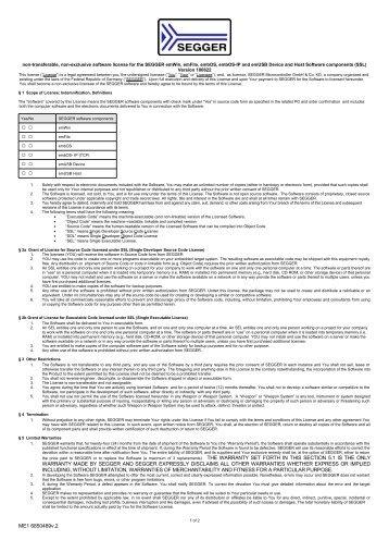 Full license agreement (Unlimited) - SEGGER Microcontroller