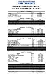serate di presentazione gratuite corsi autunno-inverno 2012-2013