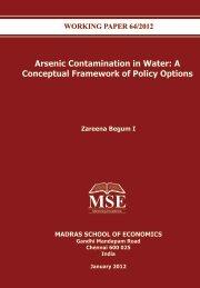 Arsenic Contamination in Water - Madras School of Economics