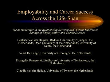Professor Beatrice v.d. Heijden - Older workers in a sustainable ...