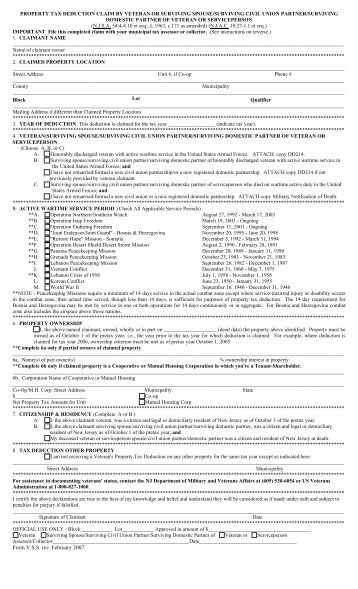 application for tax deduction for disabled veterans, wwi veterans ...