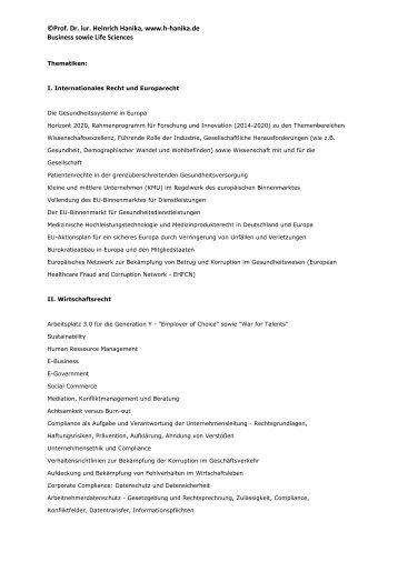 ©Prof. Dr. iur. Heinrich Hanika, www.h-hanika.de Business sowie ...