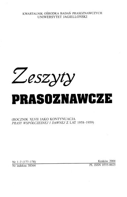 Zeszyty Prasoznawcze Małopolska Digital Library