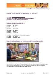 Infoblatt für die Sendung am Donnerstag, 21. Juni 2012 Das neue ...