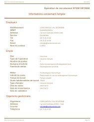 Informations concernant l'emploi - Communauté de Communes du ...