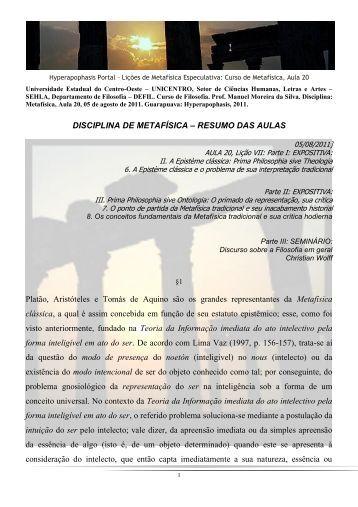 DISCIPLINA DE METAFÍSICA – RESUMO DAS AULAS Platão ...
