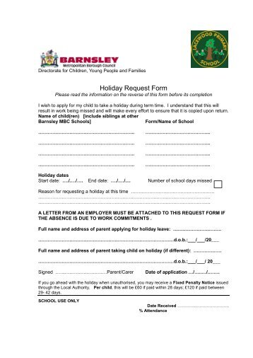 Holiday Request Form - Shaw Ridge Primary School