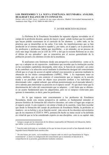LOS PROFESORES Y LA NUEVA ENSEÑANZA ... - FedIcaria