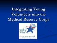 Integrating Young Volunteers into the Medical Reserve Corps