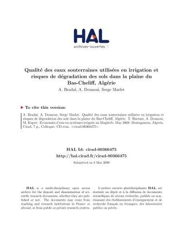 Qualité des eaux souterraines utilisées en irrigation et risques de ...